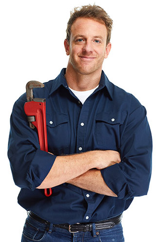 Handsome plumber with wrench isolated white background.