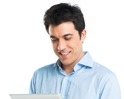 Happy Young Man Using Digital Tablet Isolated On White Background